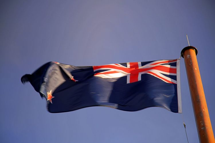Low angle view of australian flag against clear sky