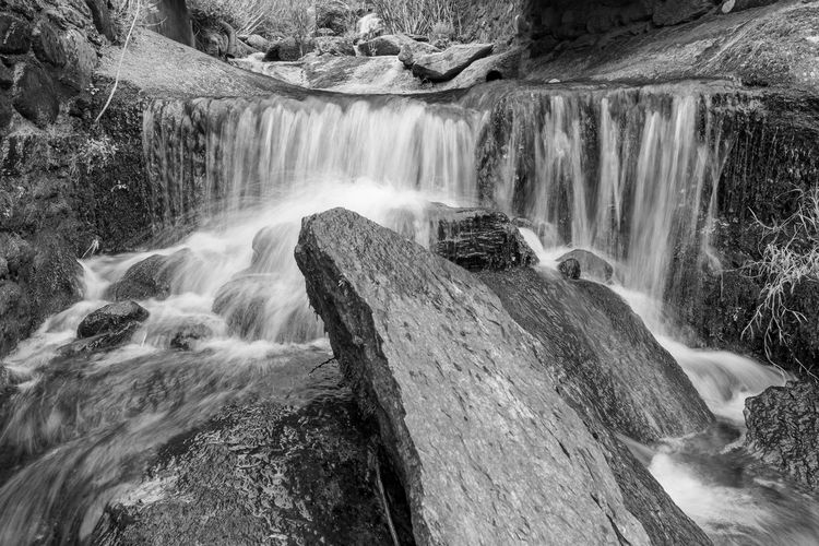 Long exposure of a waterfall at lee bay in exmoor national park