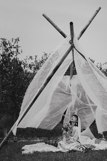 GothicMaiden Tent Outdoors Hanging Day Men One Person Sky People Photography EyeEmNewHere Art Is Everywhere Photoart The Portraitist - 2017 EyeEm Awards