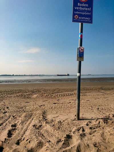Beach Bremerhaven Horizon Over Water Prohibition Sign Sand Sea Sky Verbotsschild Water Weser Weserstrand