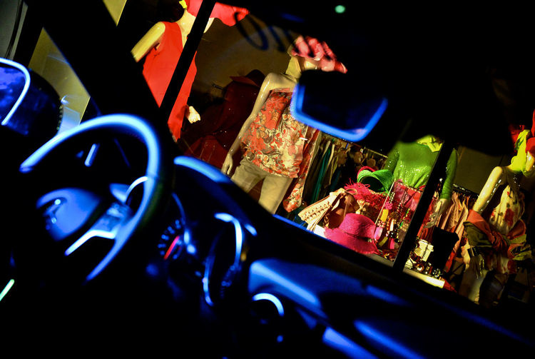 Car and fashion Arts Culture And Entertainment Car Interior Close-up Colorful Illuminated Indoors  Large Group Of Objects Multi Colored Night Night Lights Night View No People Store Window Technology Summer Exploratorium EyeEmNewHere