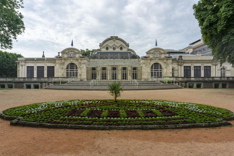 View of historical building in garden