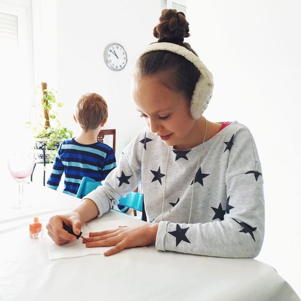 Big sister getting her nail done. Sister Brother Siblings Bright Nails Family Appartment