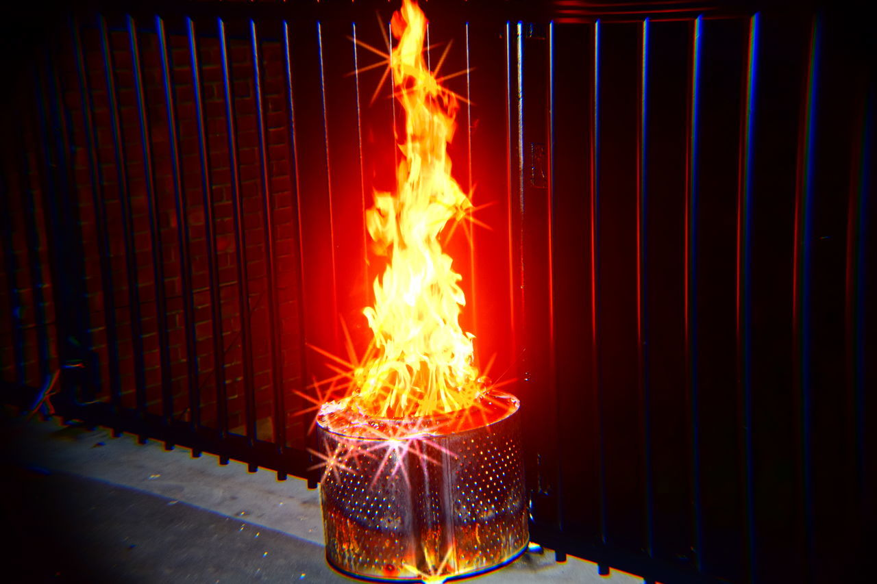 burning, flame, glowing, heat - temperature, long exposure, night, illuminated, no people, indoors, bonfire, close-up