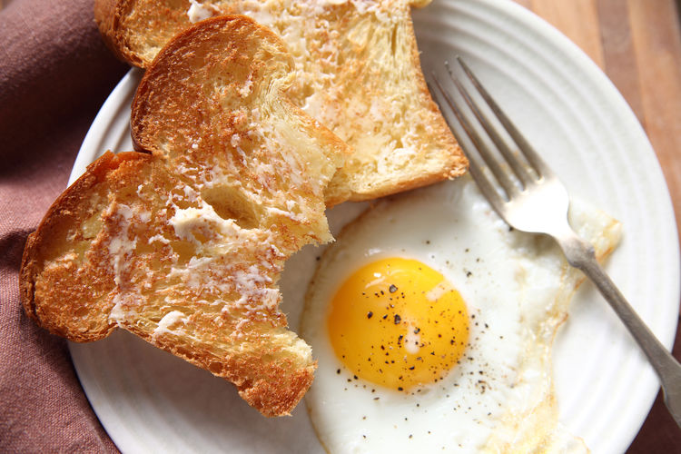 Close-up of fried egg and toast