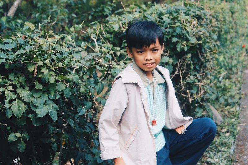 Real People People Boys Cold Temperature Childhood Day Outdoors Nature Green