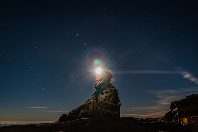 Mt.Sinai Hiking Adventure Summit Stars Moon Moonlight Sky Real People Nature Beauty In Nature Leisure Activity Meditation Third Eye Star - Space Space Astronomy One Person Scenics - Nature Night Lifestyles Tranquil Scene Tranquility Lens Flare Idyllic Rock - Object Standing Non-urban Scene It's About The Journey Moments Of Happiness 2018 In One Photograph