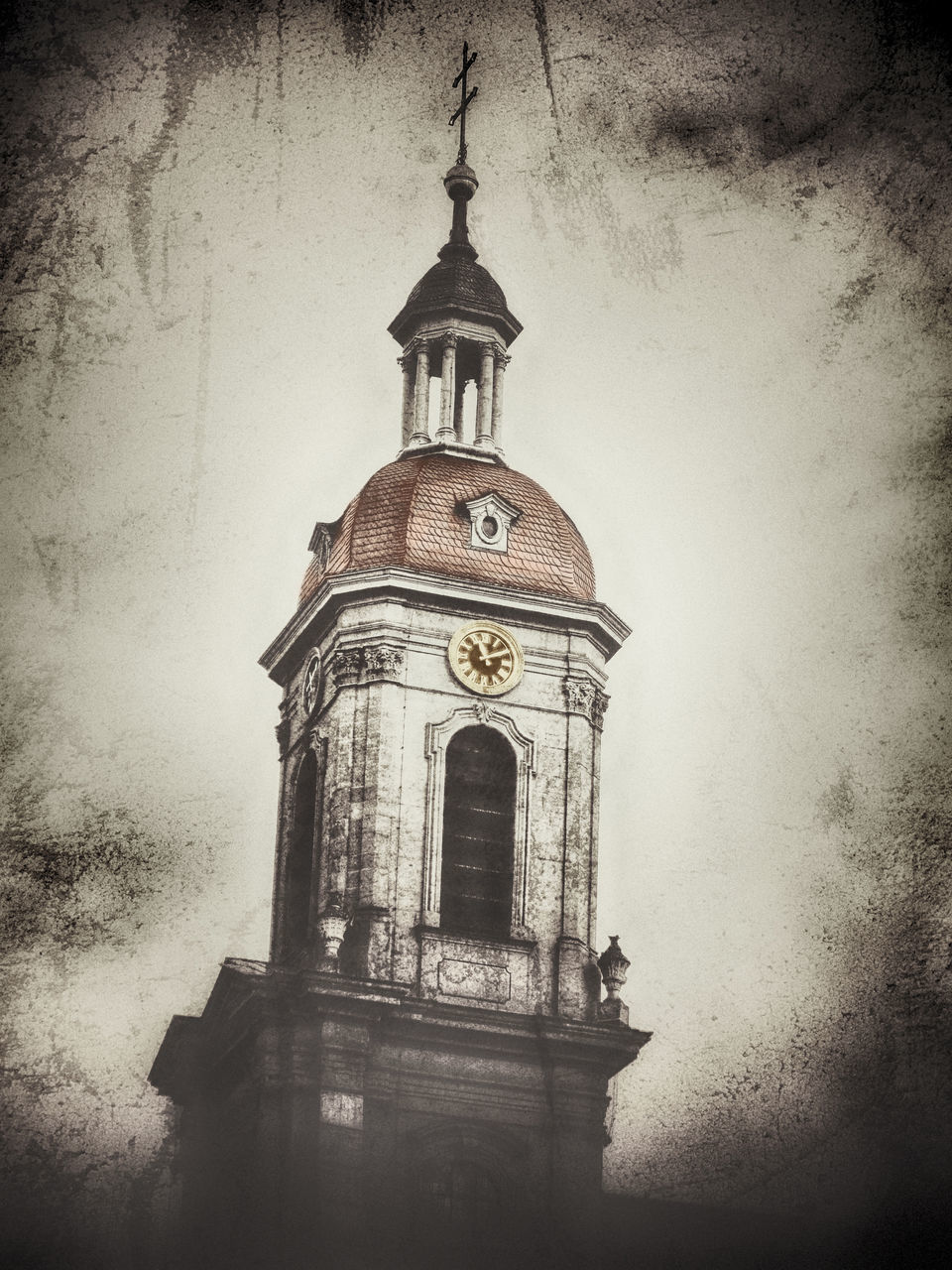 architecture, built structure, building exterior, sky, low angle view, tower, building, religion, no people, vignette, nature, belief, place of worship, auto post production filter, spirituality, the past, history, clock