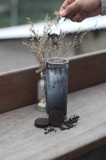 Ice Black Charcoal. Drink Drinking Glass Yummy Beverage Coffee Coffee Shop INDONESIA Bandung Ceritera Charcoal Oreo Cookies Foodies Indoors  Outdoors Table Wood - Material Noon