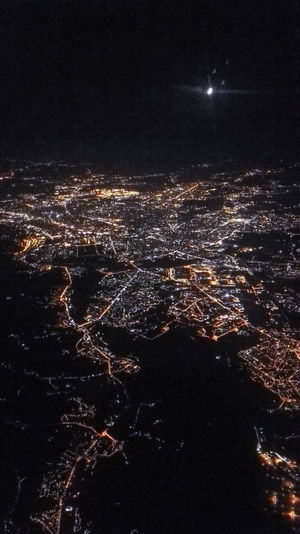 Night Illuminated Cityscape Aerial View Crowded City Sky City Life Outdoors Dark No People Scenics
