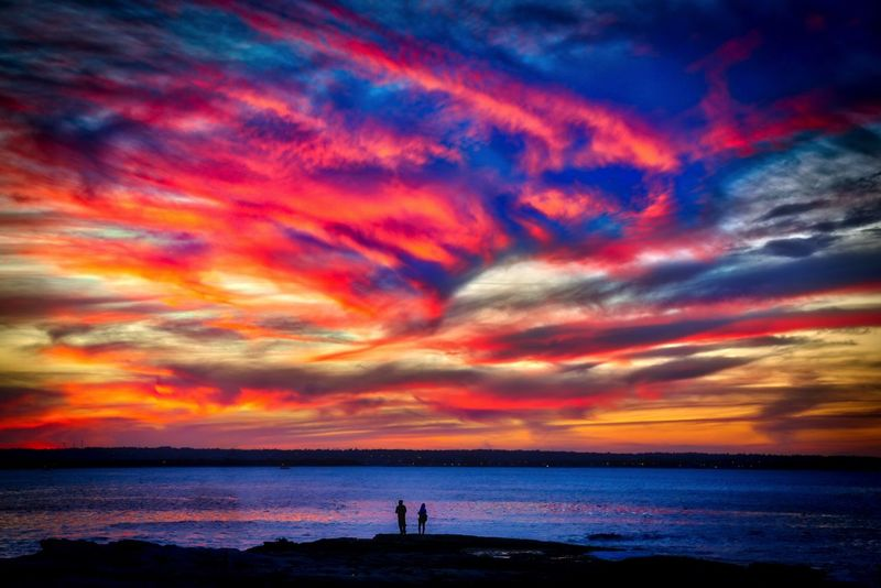 Rock Fishing at Sunset, at La Perouse. Pushed the HDR quite hard, came out with this amazing effec Beach Beauty In Nature Cloud - Sky Fishermen HDR Horizon Over Water La Perouse Nature Outdoors Scenics Sea Silhouette Sky Sunset Tranquility Water