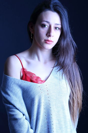 Red Beautiful Woman Casual Clothing Close-up Day Fashion Front View Lifestyles Lingerie Looking At Camera One Person People Portrait Real People Standing Studio Shot Young Adult Young Women This Is My Skin