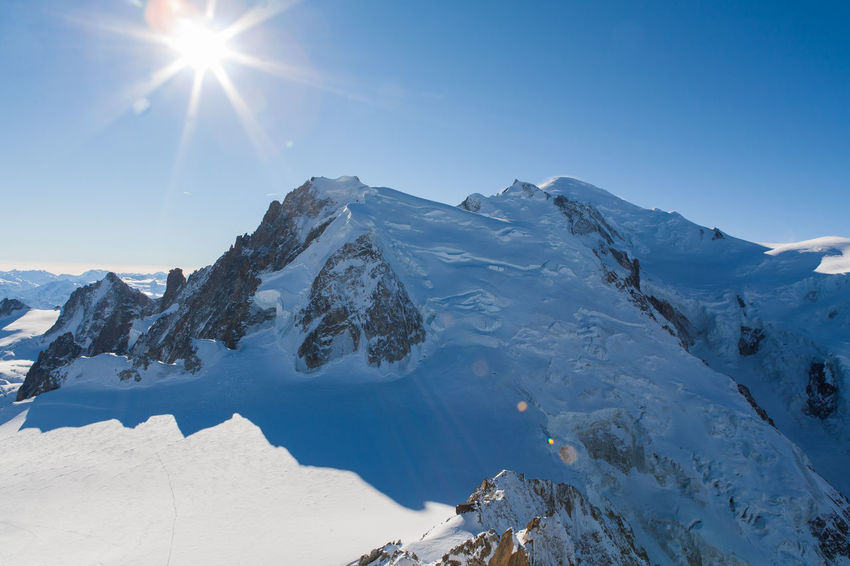 Mont Blanc from Aiguille du Midi Alpes AlpesFrancaises Alps Beauty In Nature Blue Chamonix Chamonix-Mont-Blanc Cold Temperature Landscape Mont Blanc Mountain Mountain Range Nature Scenics Season  Sky Snow Snowcapped Mountain Tranquil Scene Weather Winter