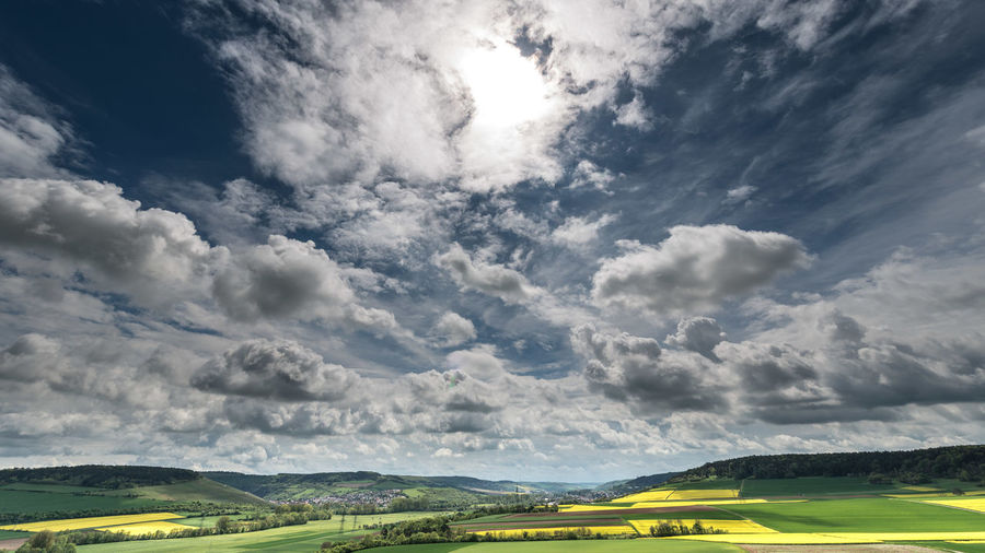 Low angle view of cloudy sky over landscape