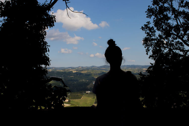 Rear view of silhouette statue against sky