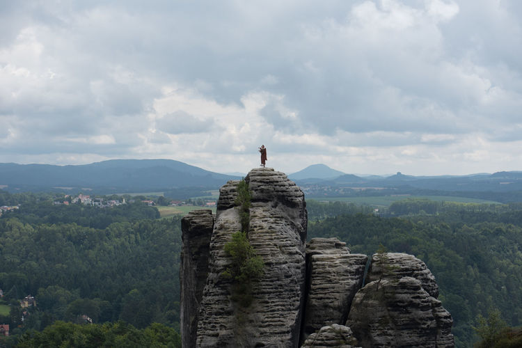 A must-see when being in the region - Die Bastei -the bastion- and the surrounding sandstone needles Bastei Beauty In Nature Cloud - Sky Day Der Mönch Landscape Nature No People Outdoors Scenics Sculpture Sky Standing Statue Tranquil Scene Tranquility Tree