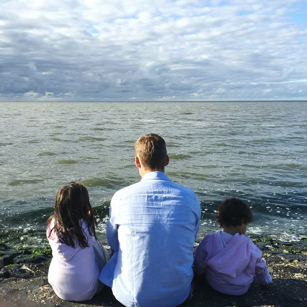 Fatherhood Moments Horizon Over Water Togetherness Non-urban Scene Person Idyllic Relaxation Family Sea Father And Daughter Father's Day in Wieringen, Netherlands