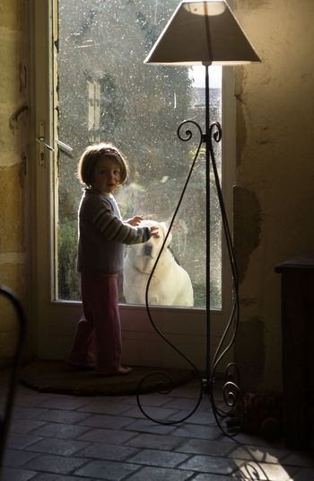 Side view portrait of girl playing with dog through door at home