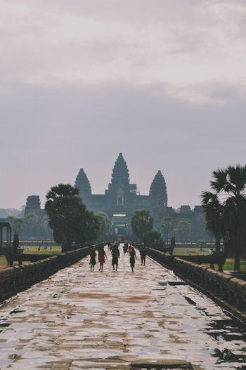 Tourists at angkor wat temple