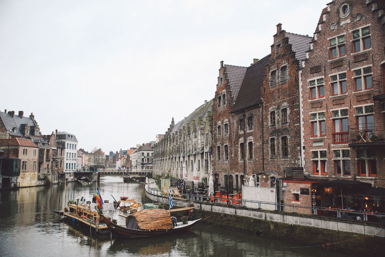 Architecture Belgium Boat Building Exterior Built Structure Canal City City Clear Sky Day Ghent Gondola - Traditional Boat Large Group Of People Mode Of Transport Nautical Vessel Outdoors People Real People Sky Transportation Travel Destinations Water Waterfront Winter