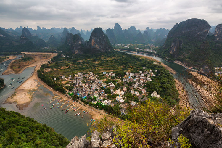 Aerial View Agriculture ASIA China City Cityscape Cloud - Sky Cloudy Growth Guilin High Angle View Landscape Mountain No People Outdoors Sky