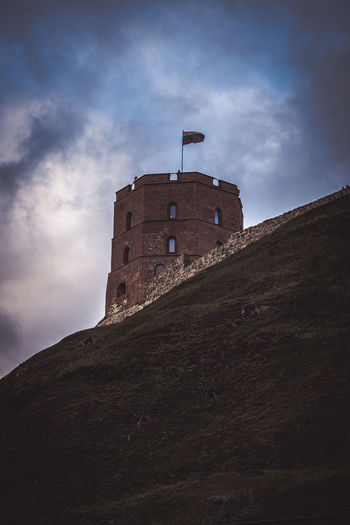 Architecture Building Exterior Built Structure Castle Castle Cloud - Sky Day Flag Fort Fortified Wall Gediminas Tower Gedimino Pilis History Lithuania Low Angle View Medieval Mountain No People Outdoors Sky