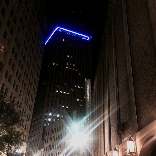 Citybuildings Blue Neon Architecture_collection Learn & Shoot: Leading Lines Beautiful Surroundings Nice Atmosphere NOLA New Orleans Downtown