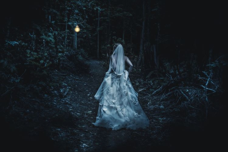 Rear View Of Bride Running In Forest