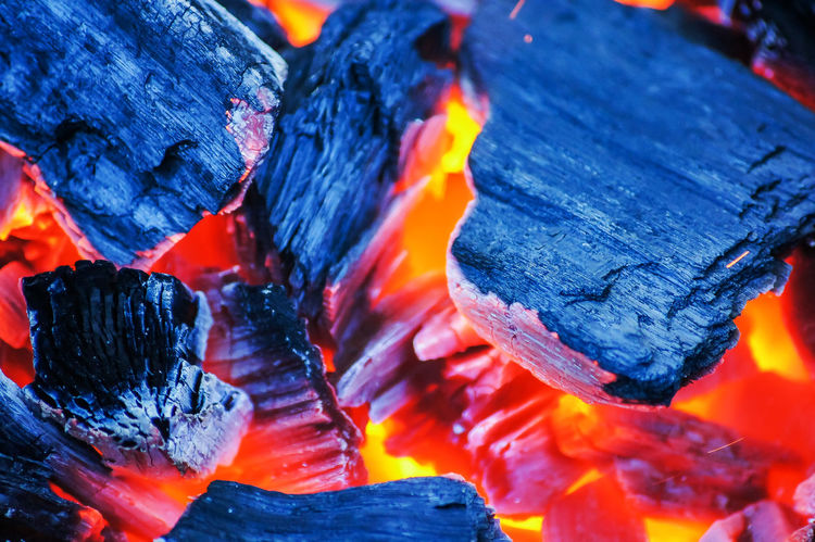 Art And Craft Charcoal Feuer Fire Fireplace Glut Kohle Orange Color