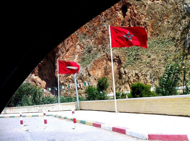 Morocco Moroccan Flag Streetsofmorocco Oujda Morocco, Saidia Eyeemphotography EyeEm Best Edits EyeEm Best Shots EyeEmBestPics Summertime Flag EyeEmbestshots Summer Nature Highway Mountains Border Algeria Alger Algérie