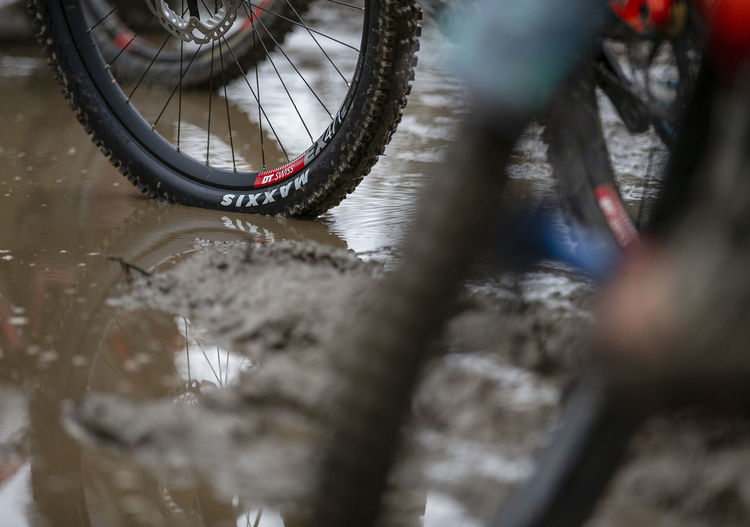 Close-up of bicycle in water