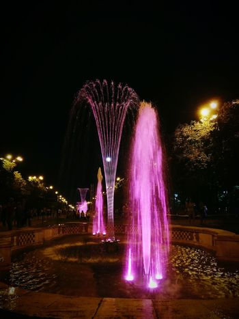 Night Illuminated Fountain Multi Colored Water Sky Outdoors Entertainment Scenics Event