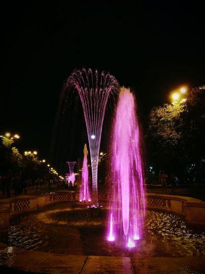 Night Illuminated Fountain Multi Colored Water Sky Outdoors Entertainment Scenics Event