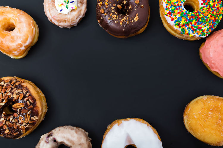 Dountus Dessert Donut Donuts Food Food And Drink Indulgence Many, Over Multi Colored Overhead View Ready-to-eat Studio Shot Sweet Food