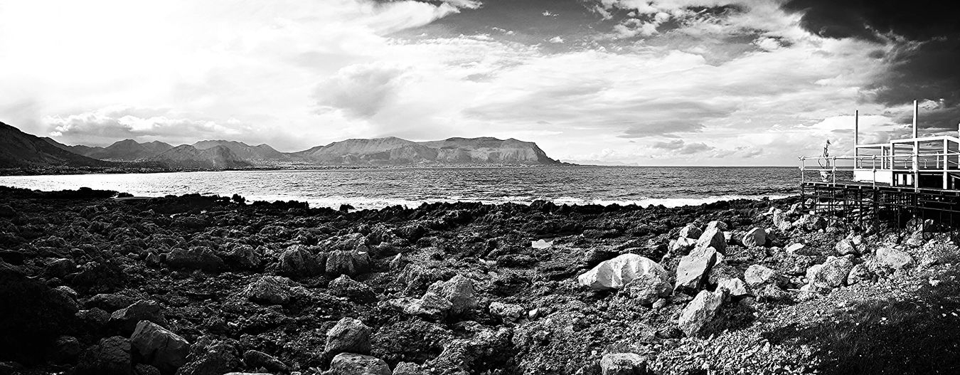 Relaxing Sea Ferrantelli Isoladellefemmine Black & White Panorama