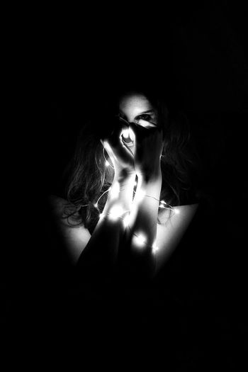 Shadow Dark Beauty Beautiful People Females Monochrome Black Background Indoors  Human Hand Light EyeEmNewHere Photo Photography Grunge Vintage Style Blackandwhite Photography Grey And White Sleepwalker Wicked People All_shots Portrait Closed Minds The Portraitist - 2017 EyeEm Awards