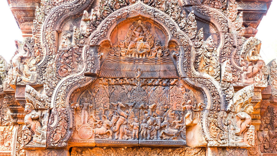 Banteay Srei .. pink sand stone Travel Destinations Religion History Tourism Architecture Place Of Worship Built Structure Pattern No People Indoors  Ancient Civilization Close-up Day Cambodia Hindu Hinduism Travel Old Buildings Siem Reap, Cambodia Statue Sandstone Pink Color Local Culture Asian Culture