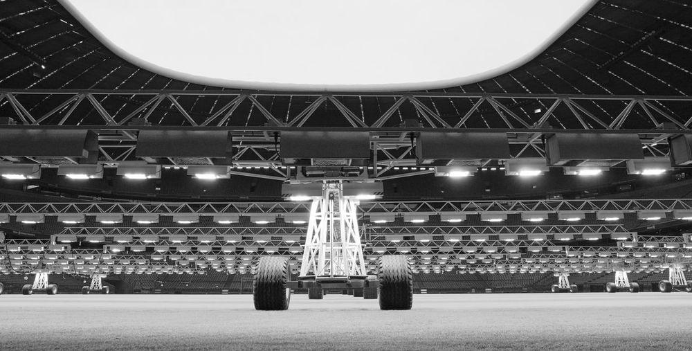 Architecture Arena Black And White Built Structure Lawn Lawn Care Low Angle View No People Plant Growth Stadium