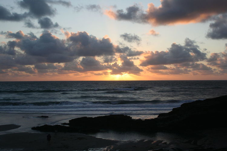 Beach Beauty In Nature Cloud Cloud - Sky Cloudy Coastline Cornwall Horizon Over Water Idyllic Nature Orange Color Scenics Sea Seascape Shore Sky Sunset Tranquil Scene Tranquility Tre Bar With Strand Water Wave