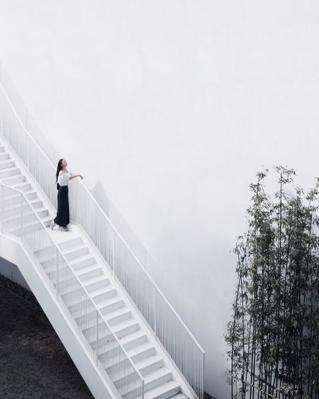 Sunbath Steps And Staircases Staircase Railing Steps Full Length Copy Space Day One Person Standing Businesswoman Architecture Well-dressed Climbing Women Businessman Business Outdoors Young Adult Adult People