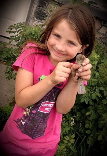 My Daughter Found this little orphaned Bird hopping around outside!