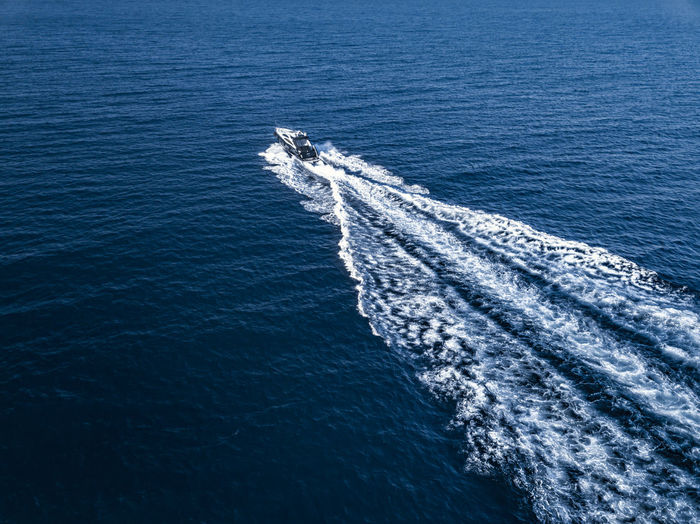 Aerial shot of a luxury motor yacht