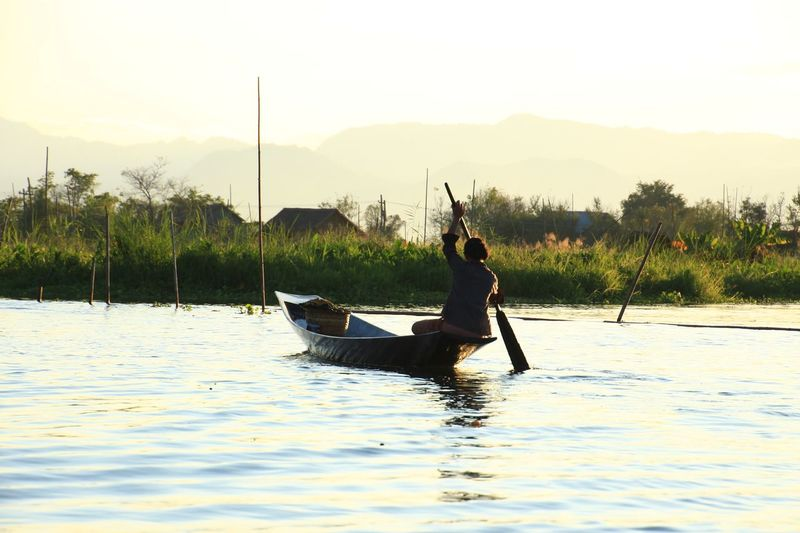Floating on water Float Living Inle Lake Drift Wander Waft Soar Asian  Asiastyle Boat Lake Lake View Myanmar Nyaungshwe Life Lifestyles Rural Scene Nature Photography Outdoors Reflection Transporter Water Nautical Vessel Oar Rowing Tree Fisherman Occupation Silhouette Lake