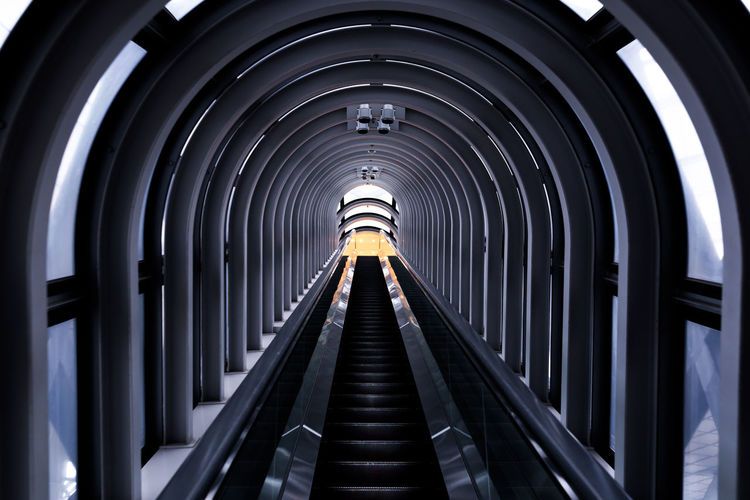 Architecture Built Structure Dark Design Diminishing Perspective Escalator Narrow Railings Steps The Way Forward Tunnel