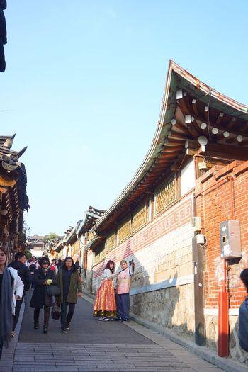 People Hanbok Tourists Hanok Village Fall Season Seoul, Korea
