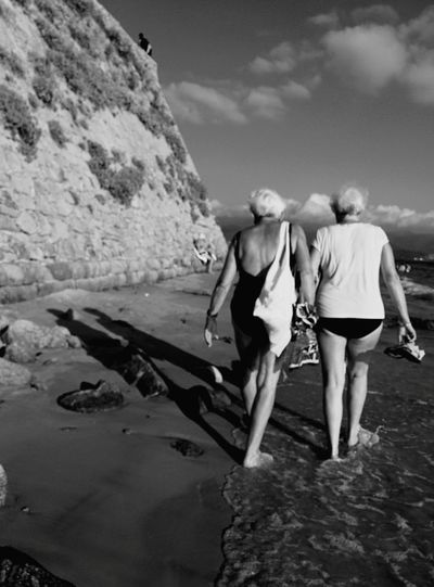 Friendship neverending. Blackandwhite Oldpeople Beach Corsica The Moment - 2015 EyeEm Awards