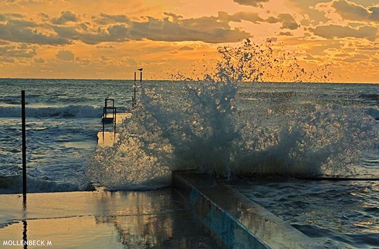 Mare agitato al tramonto Santa Marinella Italy