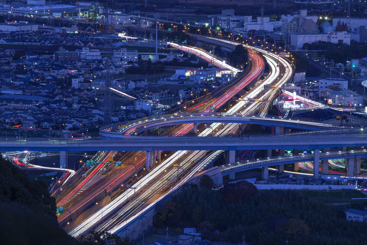 japan highway night Architecture Bridge - Man Made Structure Building Exterior Built Structure City City Life Cityscape Connection Elevated Road High Angle View Highway Illuminated Light Trail Long Exposure Modern Motion Multiple Lane Highway Night No People Overpass Road Speed Street Traffic Transportation