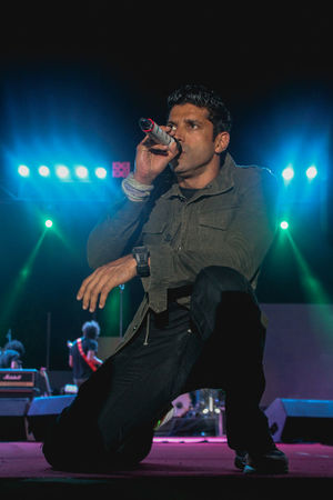 Farhan Akhtar Kolkata Arts Culture And Entertainment Farhanakhtar Illuminated Men Microphone Music Musician Night One Person People Performance Popular Music Concert Singer  Singing Stage - Performance Space Stage Light