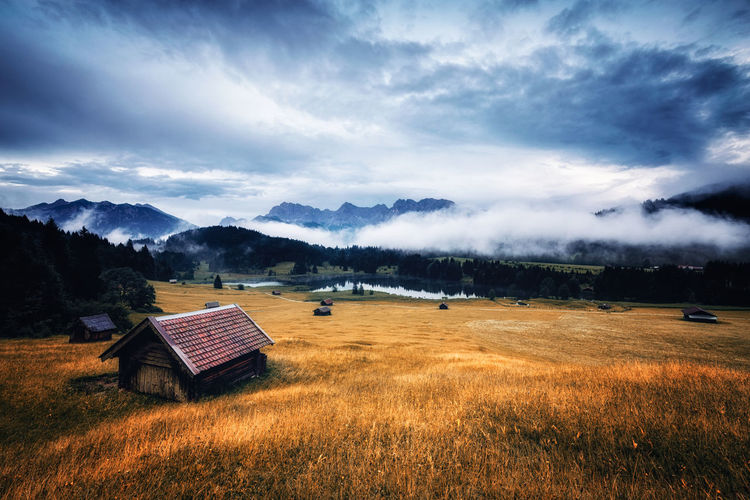 Cloud - Sky Environment Sky Landscape Grass Land Plant Scenics - Nature Beauty In Nature Tranquil Scene Field Tranquility Nature Tree No People Built Structure Architecture Non-urban Scene Rural Scene Outdoors Geroldsee Bavaria Kawendel